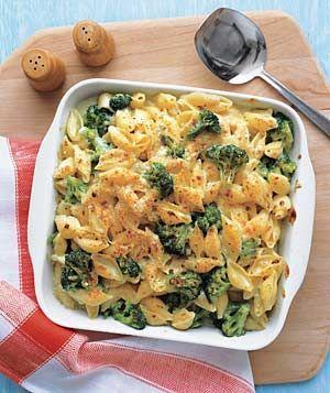 cheesy baked shells and broccoli.