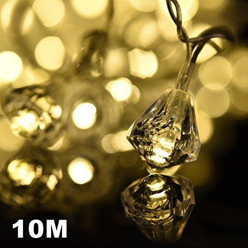 Amazlab T10DW, 10 meter / 33 feet, Warm White LED Fairy Lights , Diamond String Christmas Lights, Lights with Diamonds on a great decoration for walls, windows Christmas trees,