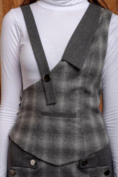 Two-tone Asymmetric Wool Blend Suspender Vest by Verity & Volition