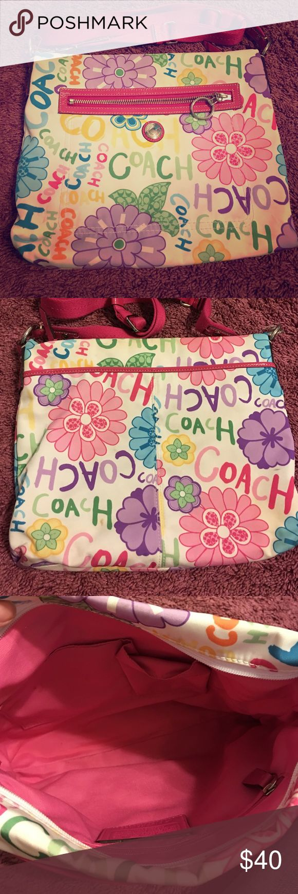 Coach Poppy Floral Shoulder Bag adorable bright pattern; some slight signs of use but still super cute! lined with pink fabric Coach Bags Shoulder Bags