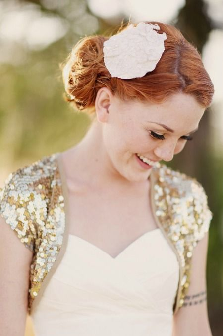 Sequin wedding caplet - Glamour Magazine