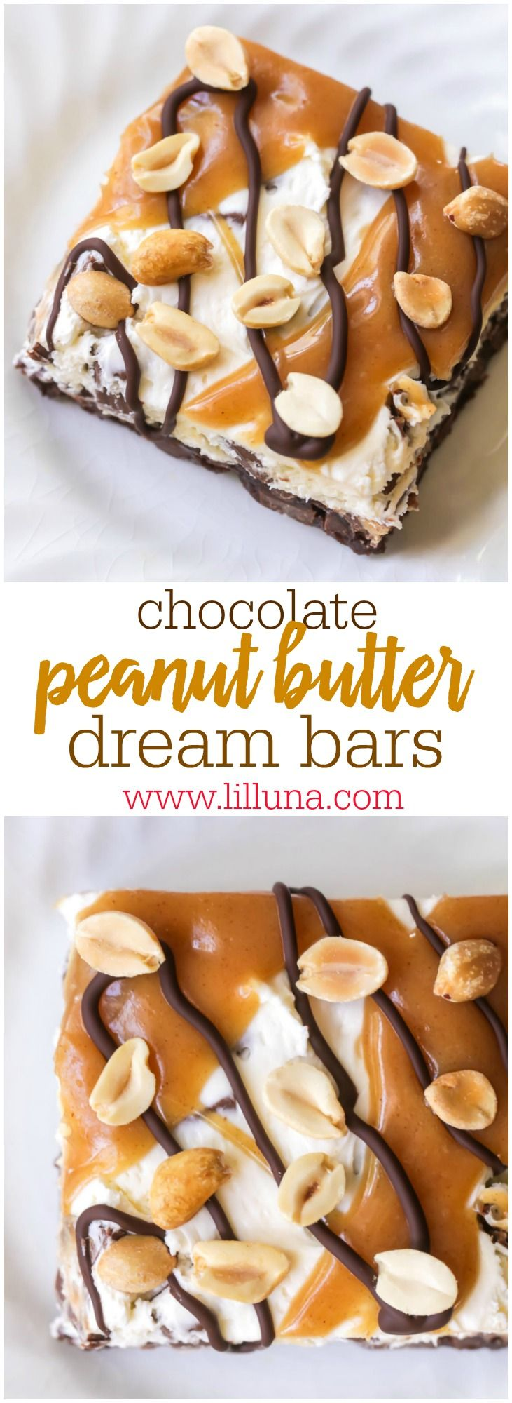 Chocolate Peanut Butter Bars - a chocolate chunk cookie base with a creamy peanut butter filling topped with chocolate and peanuts. The perfect treat for the PB + Chocolate lover!