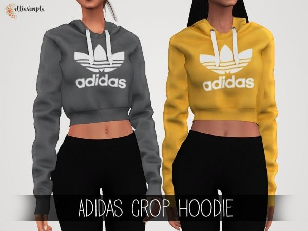 cooperar Seminario tarde  The Sims 4 Elliesimple - Adidas Crop Hoodie | Adidas cropped hoodie, Sims 4  dresses, Sims 4 toddler