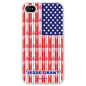 Lacrosse iPhone/Galaxy Case USA Lacrosse Sticks Flag - This customizable protective case is the perfect accessory for any lacrosse player's phone. Fits the iPhone 4, iPhone 4S, iPhone 5, iPhone 5S, Galaxy S3, and Galaxy S4.