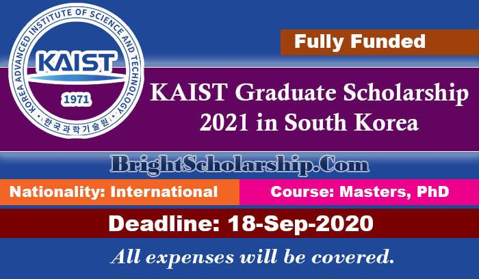 KAIST Graduate Scholarships 2021 in South Korea (Fully ...