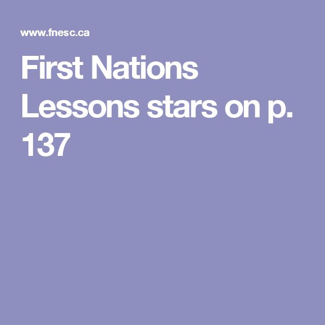 First Nations Lessons  stars on p. 137