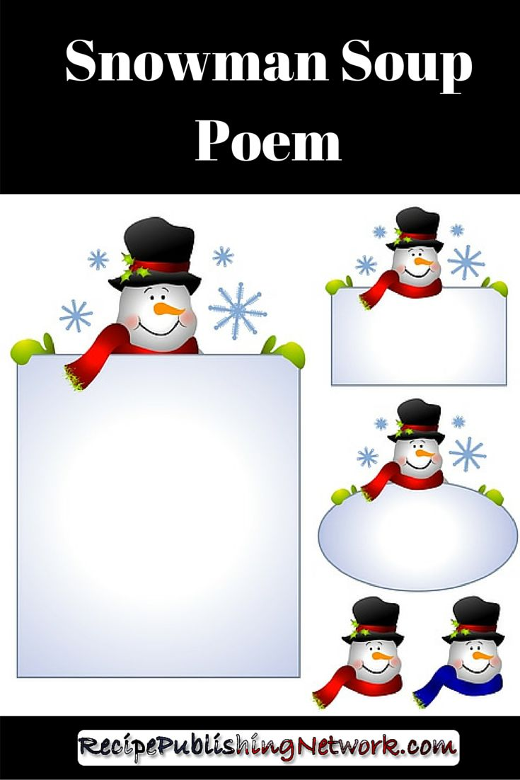 The snowman soup poem is a traditional accompaniment to snowman soup. There are various snowman soup poems that you can choose from or you might like to add a few lines of your own to any of these or even write your own snowman soup poem to make it completely unique and fitting for the recipient of the snowman soup gift.