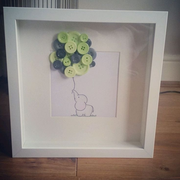 elephant button picture great gift christening new baby childrens rooms. in Baby, Nursery Decoration & Furniture, Picture/ Photo Frames   eBay