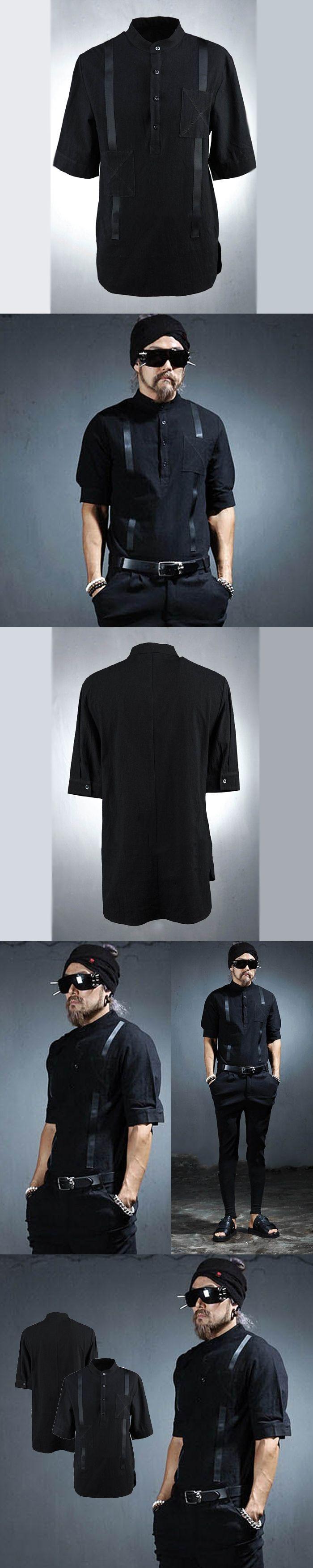 Male personality fashion fluid half sleeve shirt male slim fifth sleeve shirt