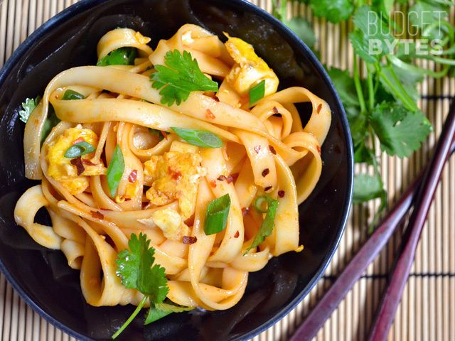 Dragon Noodles - Budget Bytes Brock (from work) made this - so it is super easy!  I would not use cilantro (not a fan), and I might replace brown sugar/soy with oyster sauce and replace lo mein with rice noodles (the kind for pad thai).