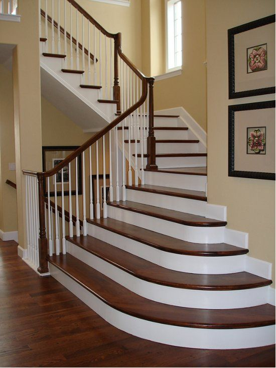 Painted stair risers first floor kitchen dining room - Interior stair treads and risers ...