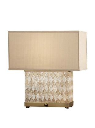 Feiss Nevena 20.5-Inch Table Lamp, Harlequin Pattern Natural Shell/ Dark Coffee Bronze with Biscuit Shantung Fabric Shade