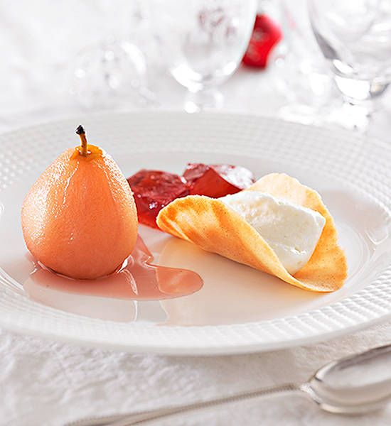 Pears with apple sorbet, jelly and wafers: A deliciously cooling dessert for those hot summer days.