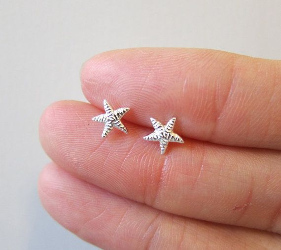 Tiny Sterling Silver Starfish Stud Earrings by GreatJewelry4All, $14.00