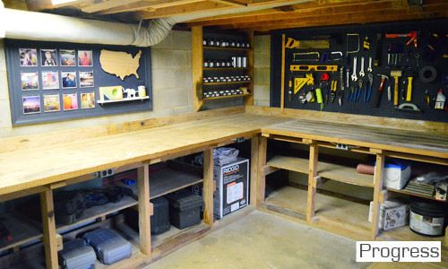 Workshop - navy pegboard to help tools stand out; perimeter work table with shelves underneath