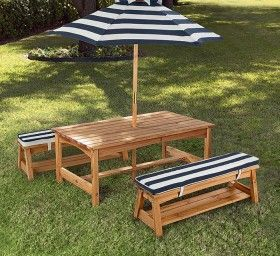 NEW Kidkraft Outdoor Table and Bench Set with Cushion and Umbrella