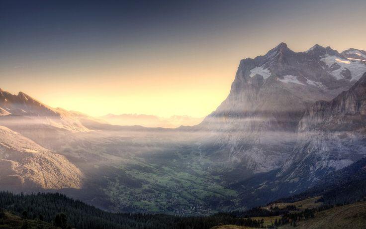 1920x1200 Wallpaper mountains, sky, fog, valley