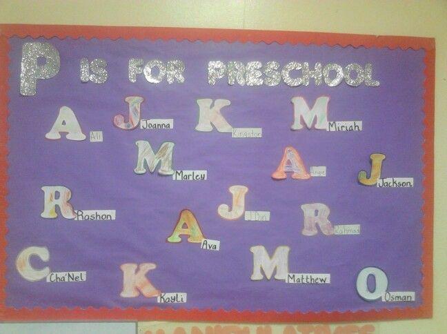 Preschool bulletin board, back to school, letter recognition