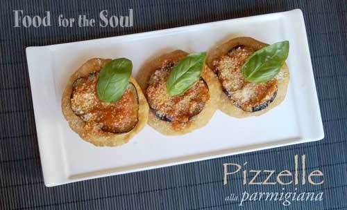 Pizzelle fritte alla parmigiana - Fried mini-pizzas with eggplant and tomato sauce