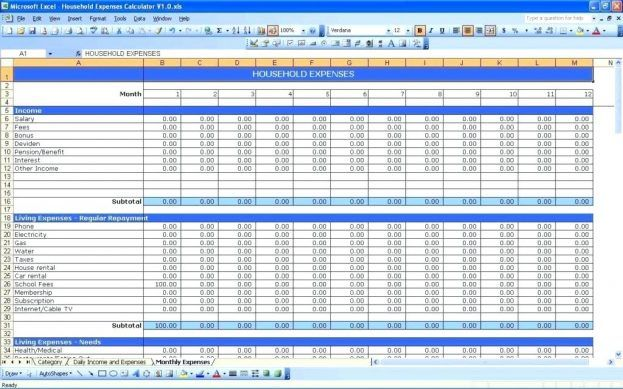 Income And Expense Worksheet Free Business Budget Template An