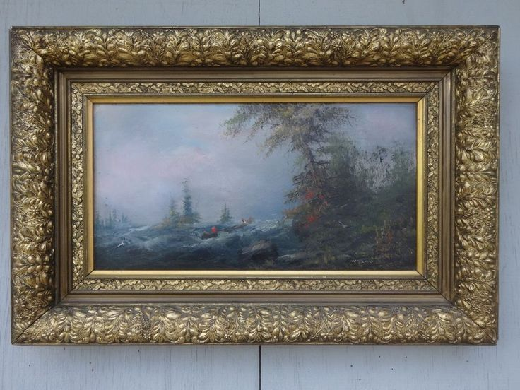 ANTIQUE PACIFIC NORTHWEST SCHOOL ART CANOE LANDSCAPE RIVER WILDLIFE VICTORIAN