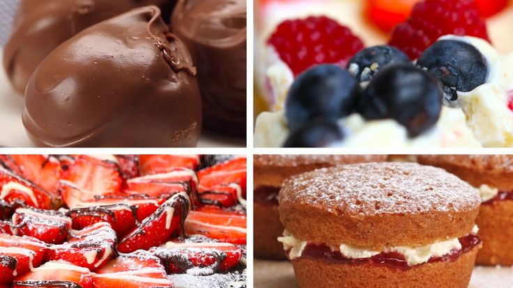 6 British Desserts From Proper Tasty - Chocolate Balls, Mini Victoria Sponges, Chocolate Berry Cheesecake, English Scones, Creme Egg Rocky Road, Chocolate Strawberry Tart
