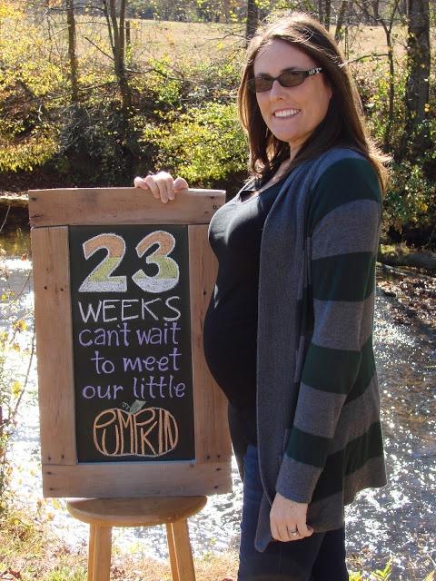 23 Weeks Baby Bump chalkboard
