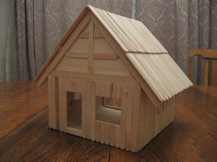 Build a popsicle stick house wilson pinterest for Ideas for building with popsicle sticks