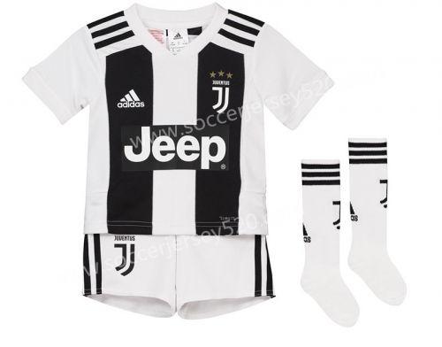 0d1bca8cd85 2018-19 Juventus Home Black White Kids Youth Soccer Uniform With Socks