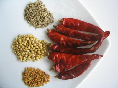 Red Chillies-7 cups or 130gms Coriander seeds-2 cups or 140 gms Cumin seeds-5 tsp or 25 gms Fenugreek seeds-2tsps or 10 gms(be careful with this one, as a little extra amt of this will turn the powder,bitter) . Method: Fry the ingredients one by one,until brown, separately in a thick bottomed kadai(iron wok prefered) Fry chillies lastly, using a few drops of oil.Dry grind in a mixie.