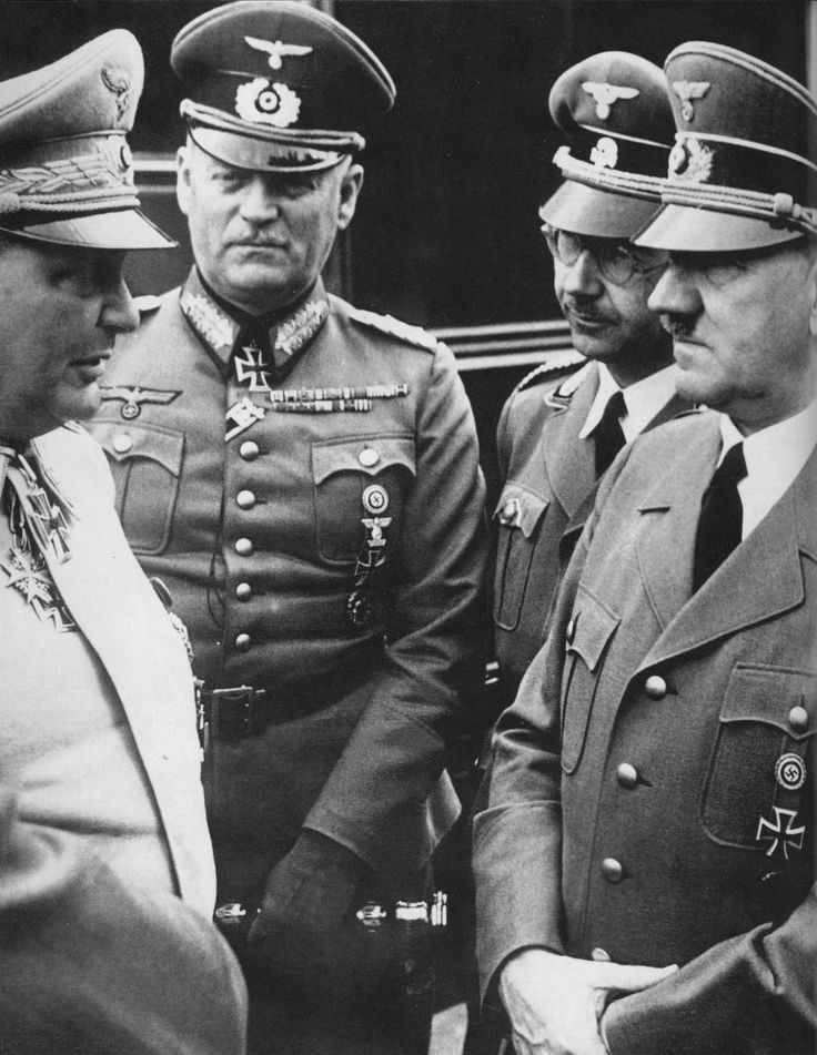 April 20, 1941: Hitlers birthday. W. Goering, W. Keitel, and H. Himmler surround the Führer to wish him happy many returns. Five years later all four would be dead