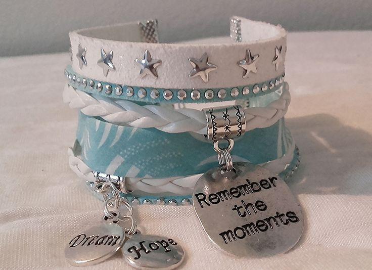 Bracelet large en authentique Liberty turquoise Souvenir Reve Espoir simili cuir et suédine : Bracelet par libertylily