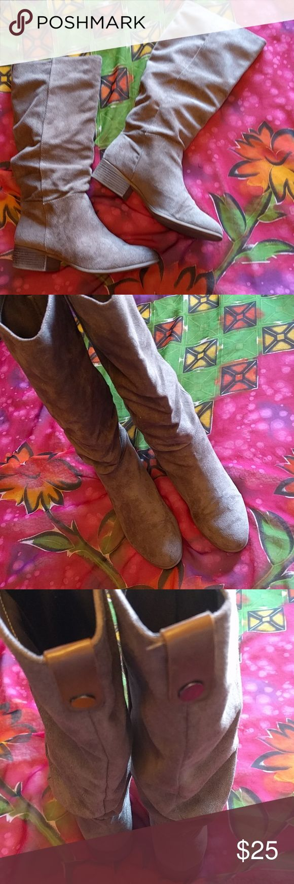 Merona size 9 boots Man made suede boots, color is a light tan stone. No damage, hardly worn. Merona Shoes Heeled Boots
