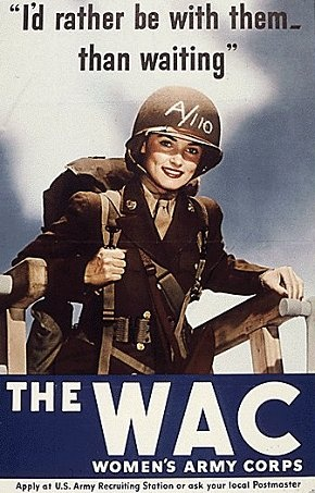 The Women's Army Corps (WAC) was the women's branch of the United States Army. It was created as an auxiliary unit, the Women's Army Auxiliary Corps (WAAC) on 15 May 1942 by Public Law 554, and converted to full status as the WAC in 1943. Its first director was Oveta Culp Hobby, a prominent society woman in Texas.