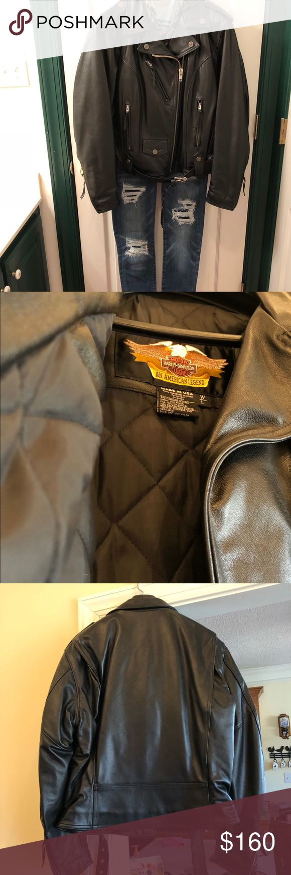 Women's Harley Davidson Leather Jacket Women's size LG, Harley Davidson jacket. Full zip front with buckle, zippers on the sleeves. Quilted inside for extra warmth. Only been worn twice. Harley-Davidson Jackets & Coats