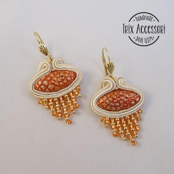 "Pendant soutache earrings ""Adele"", hand-sewn, bead embroidery, polymer clay, design earrings, sand, glass beads, gold, fringe, orange"