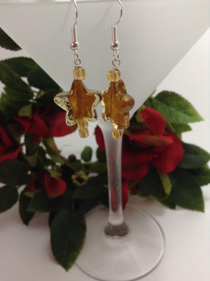 Golden Star earrings - handmade - ideal Christmas earrings by NJscollection on Etsy