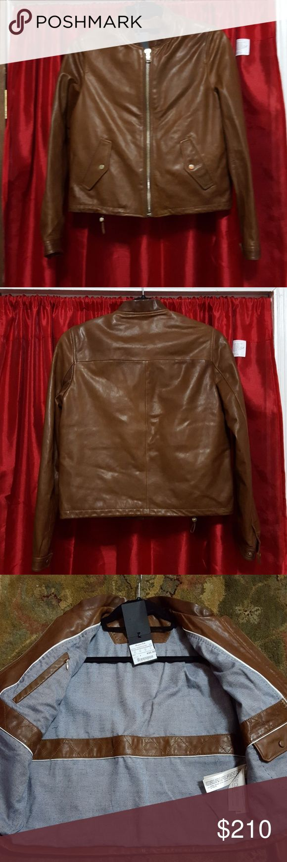 Massimo Dutti Ladies leather jacket Brown Massimo Dutti Ladies butter soft leather jacket Massimo Dutti Jackets & Coats Utility Jackets