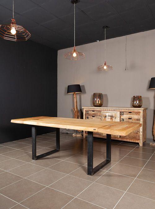 Tavolo allungabile in legno massello gambe quadrate in ferro ...