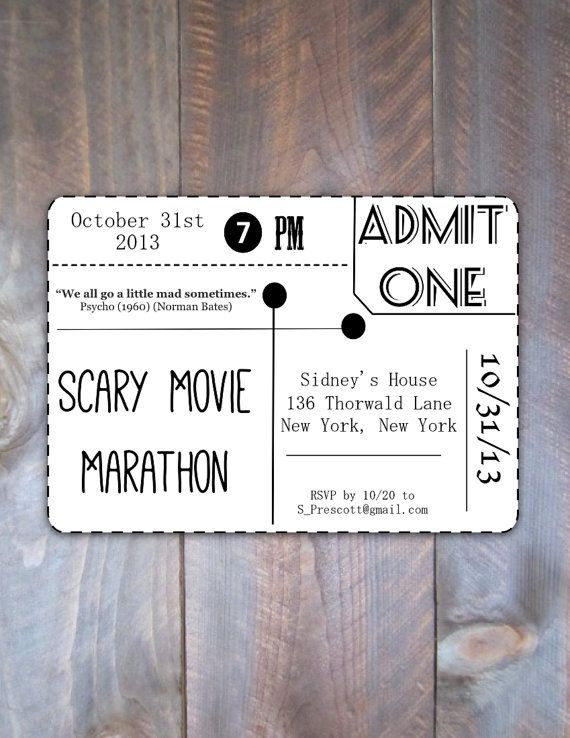 Scary Movie Marathon Party - I would LOVE to do this ( a movie party of scary movie sequels ( like all the screams , or all of the Halloween , Friday the 13ths , and have lots of popcorn , chips , snacks . It's something older teens and young adults to do ... Because we don't trick or treat . And regular Halloween party's get old . I LIKE DIFFERENT !!!!  :D
