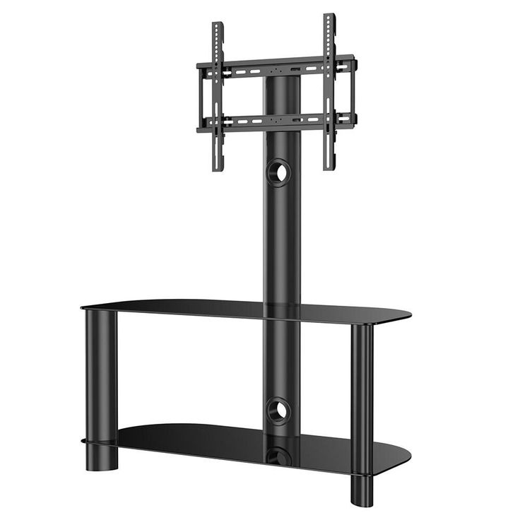 Fitueyes universal glass LCD TV Stand with Swivel Mount bracket 2 shelf for 32-50 inch LED LCD TV-TW209002MB