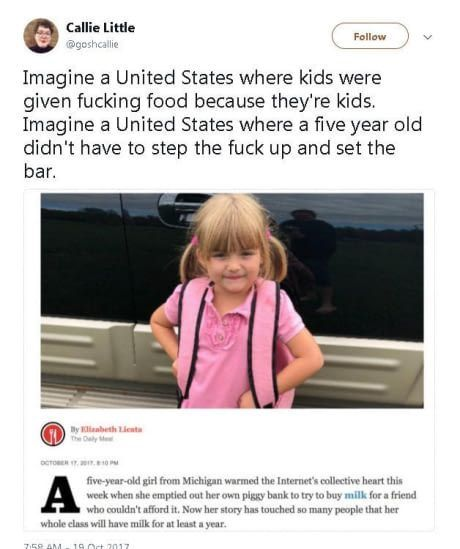 What the fuck kid can't afford milk tho. Nice story but
