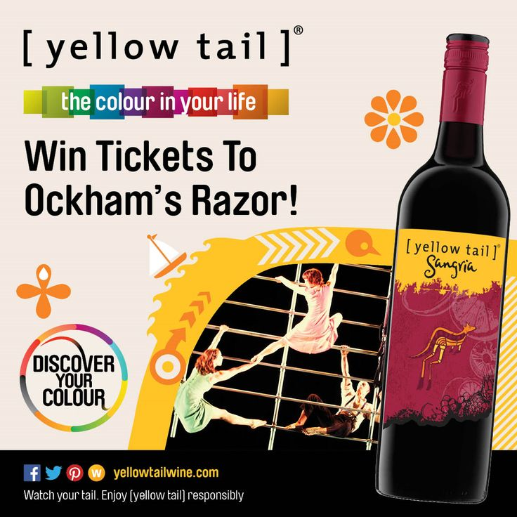 Win one of three double passes to the electrifying new production of Ockham's Razor at the 2014 Sydney Festival! Enter now --> http://fabulousladieswinesociety.com/2014/01/win-tickets-to-the-sydney-festival-thanks-to-yellow-tail/