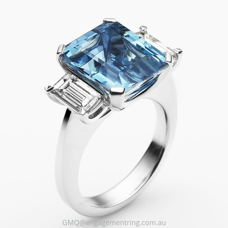 Clean and classic aquamarine and diamond dress and cocktail rings by GMQ@engagementring.com.au