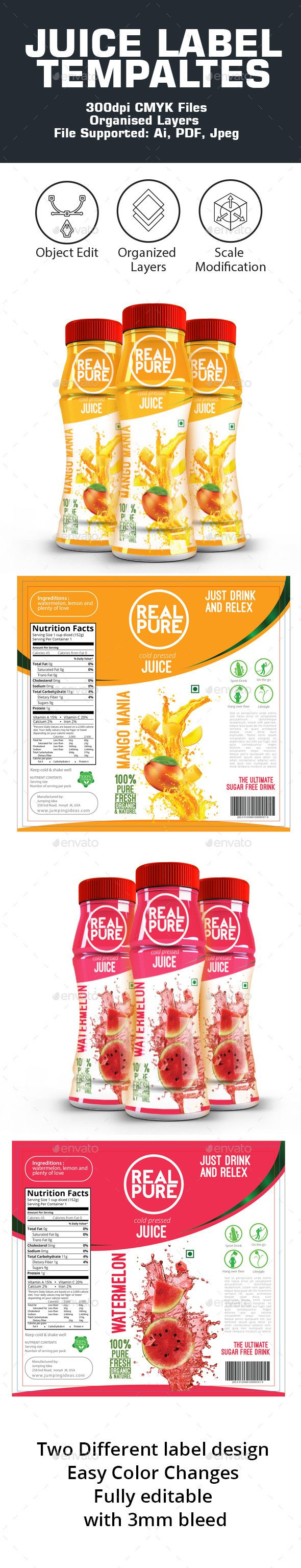 Juice Label Templates - #Packaging Print Templates