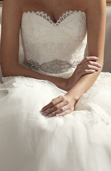 Love the bodice and sparkly band on this wedding dress!