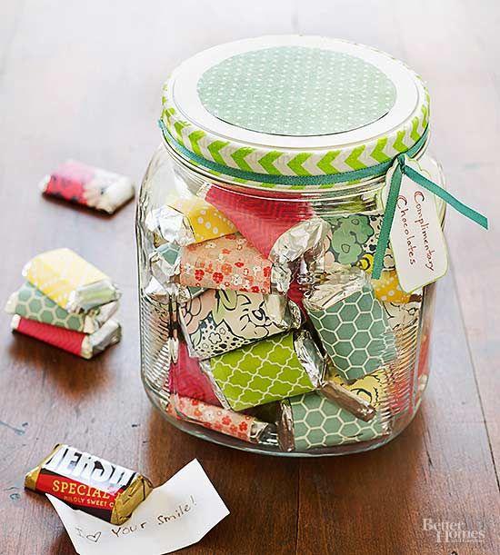 Adorable Mason Jar Craft -Wrap decorative paper around mini candy bars.