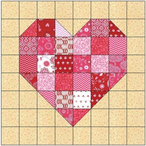 Scrappy Heart Quilt Block Pattern Download