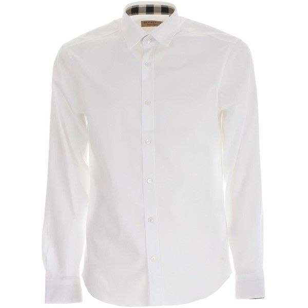 Shirt (34.465 HUF) ❤ liked on Polyvore featuring men's fashion, men's clothing, men's shirts, men's casual shirts, menclothingshirts, white, mens button front shirts, mens curved hem t shirt, burberry mens shirt and mens longsleeve shirts