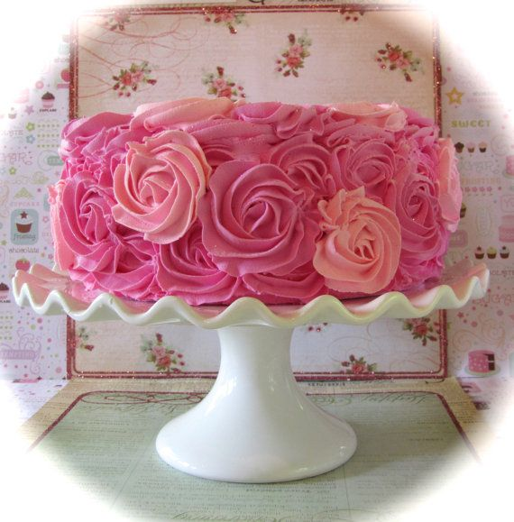 """Fake Rosette Cake Hot Pink & Pink Frosting Color Combo Can Add No. 1 Candle Approx. 9""""w x 4.25""""h Fab Photo Prop, First Birthday Decor on Etsy, $34.00"""